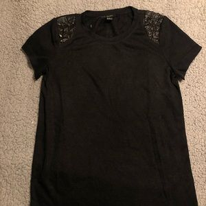 Black shirt with studded sleeves